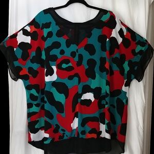 Teal & Blk Spotted Print WORTHINGTON 3X 4X Blouse